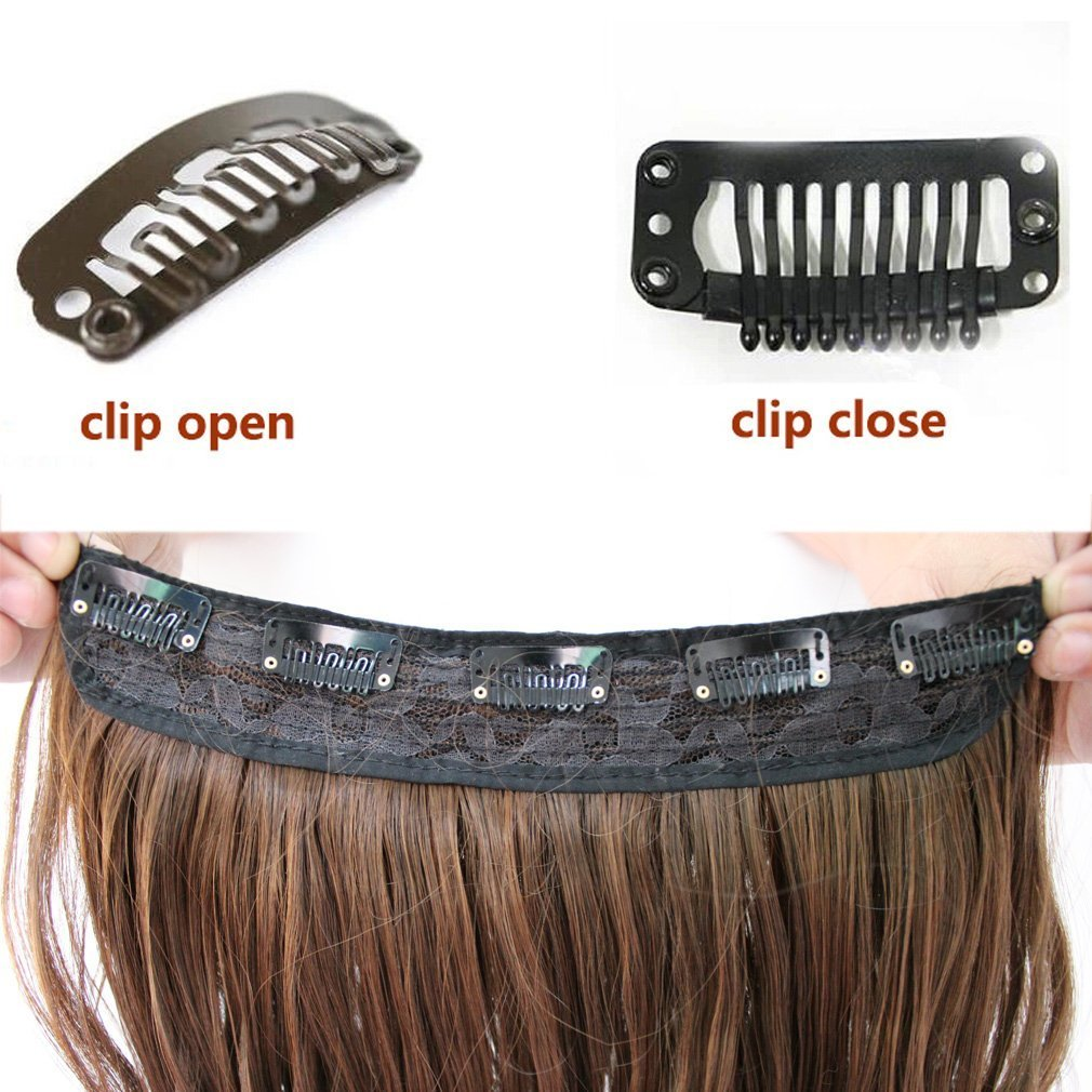 FIRSTLIKE 26'' Inch Straight Black To Wine Red Clip In Hair Extensions Thick 3/4 Full Head Long One Piece 5 clips Soft Women Beauty Hairpiece by FIRSTLIKE (Image #6)