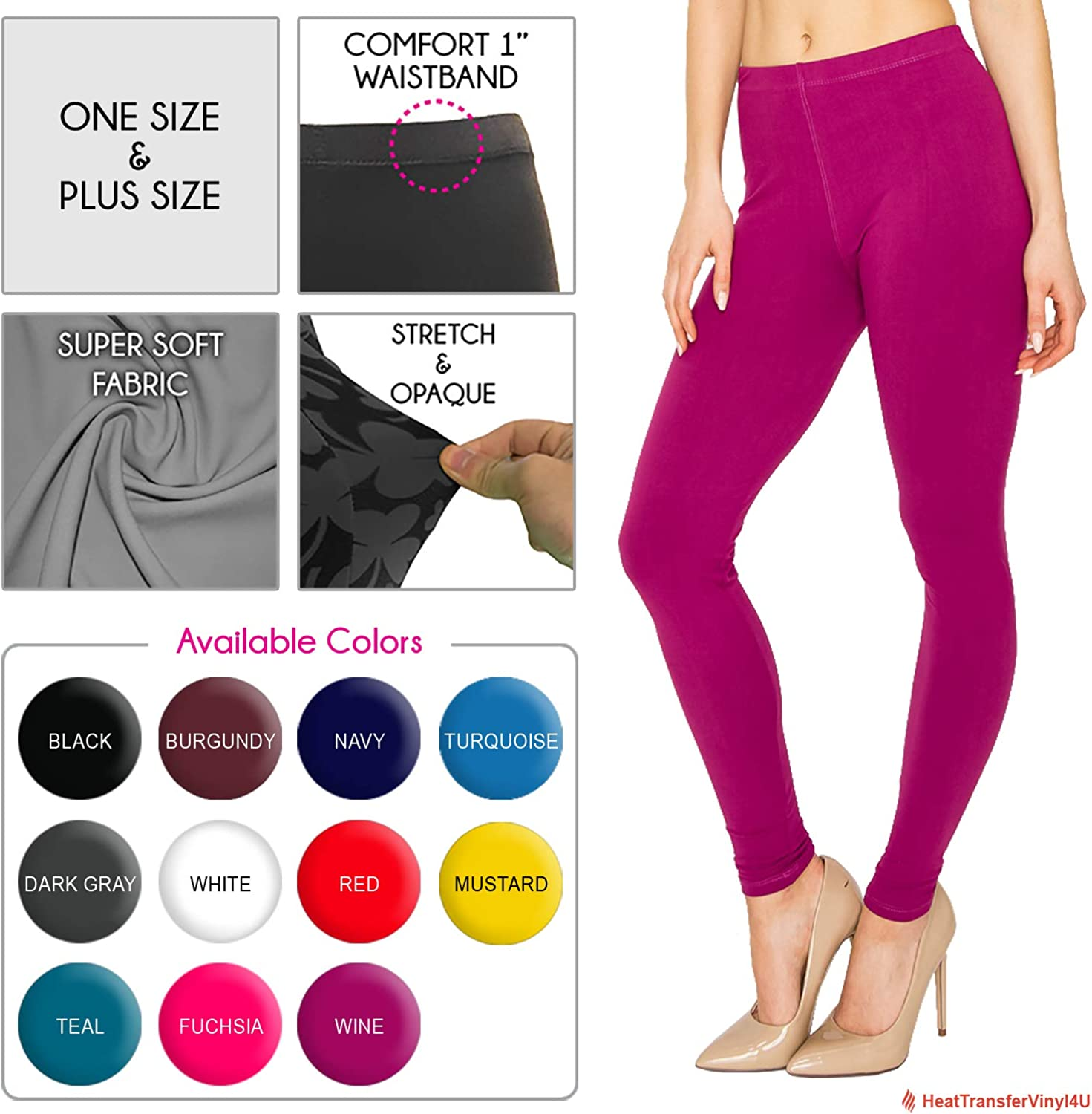 Eevee Womens Solid /& Patterned Leggings One Size-Plus Size