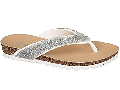 Ladies Spot On Glittery Toe Post Sandals