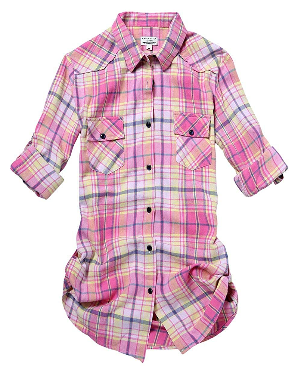 2022 Check 2 Match Women's Long Sleeve Flannel Plaid Shirt