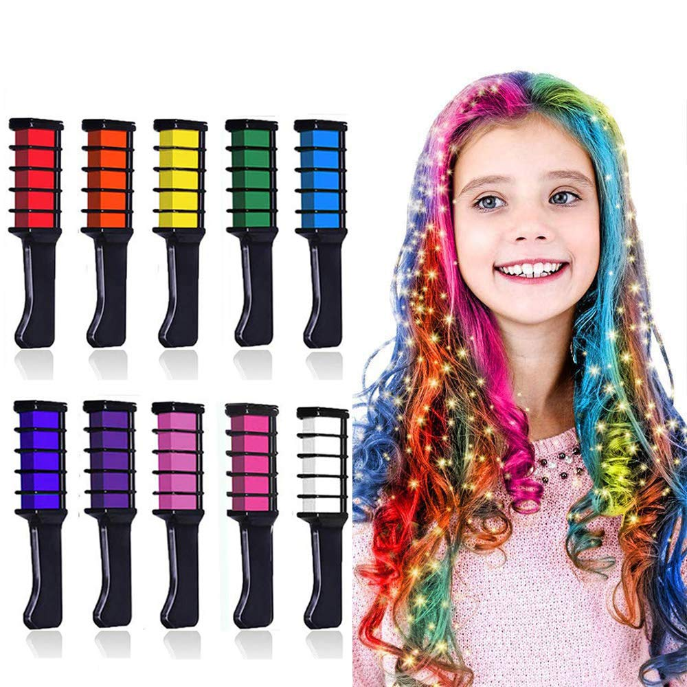 10 Colors Hair Chalk for Girls Kids Gift, Kalolary Temporary Bright Hair Color Dye for Girls Age 4 5 6 7 8 9 10+, Washable Hair Chalk Comb Gift for Birthday Party Cosplay