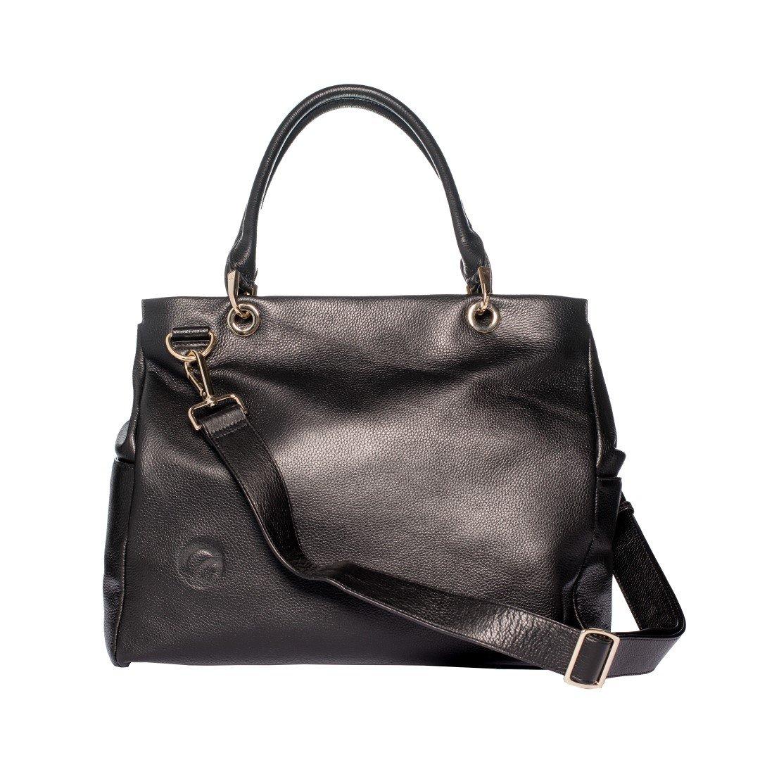 Oemi Leather Diaper Bag ~ 5 Interior Pockets ~ Wide, Removable Shoulder Strap - Parkside Black Oemi Baby Inc DBBLK15