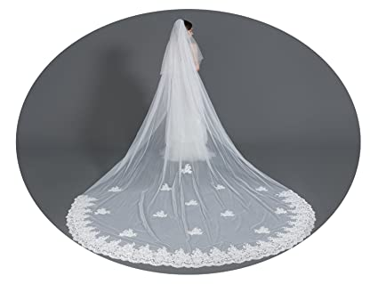 Wedding Bridal Veil with Comb 2 Tier Lace Applique Edge Cathedral ...