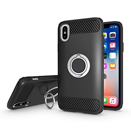 finest selection 68f18 b8d8d Olixar iPhone Xs Max Ring Case - Finger Loop - Tough Protective Design -  Built in Media Viewing Stand - ArmaRing - Black