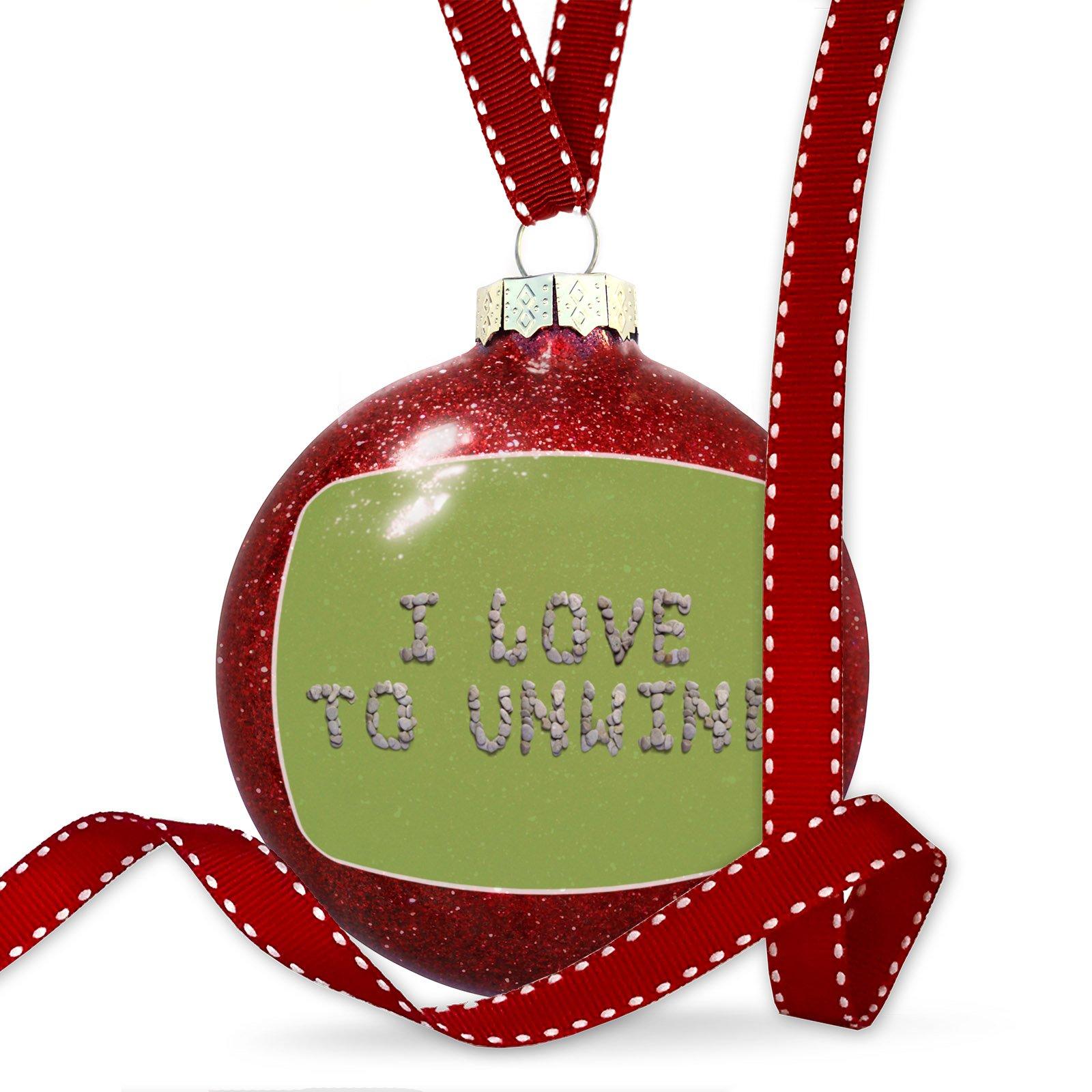 Christmas Decoration I Love To Unwind Spa Stones Rocks Ornament