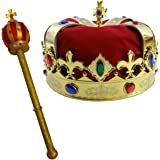 Royal King's Crown and Scepter Costume Dress Up Set By Funny Party Hats®