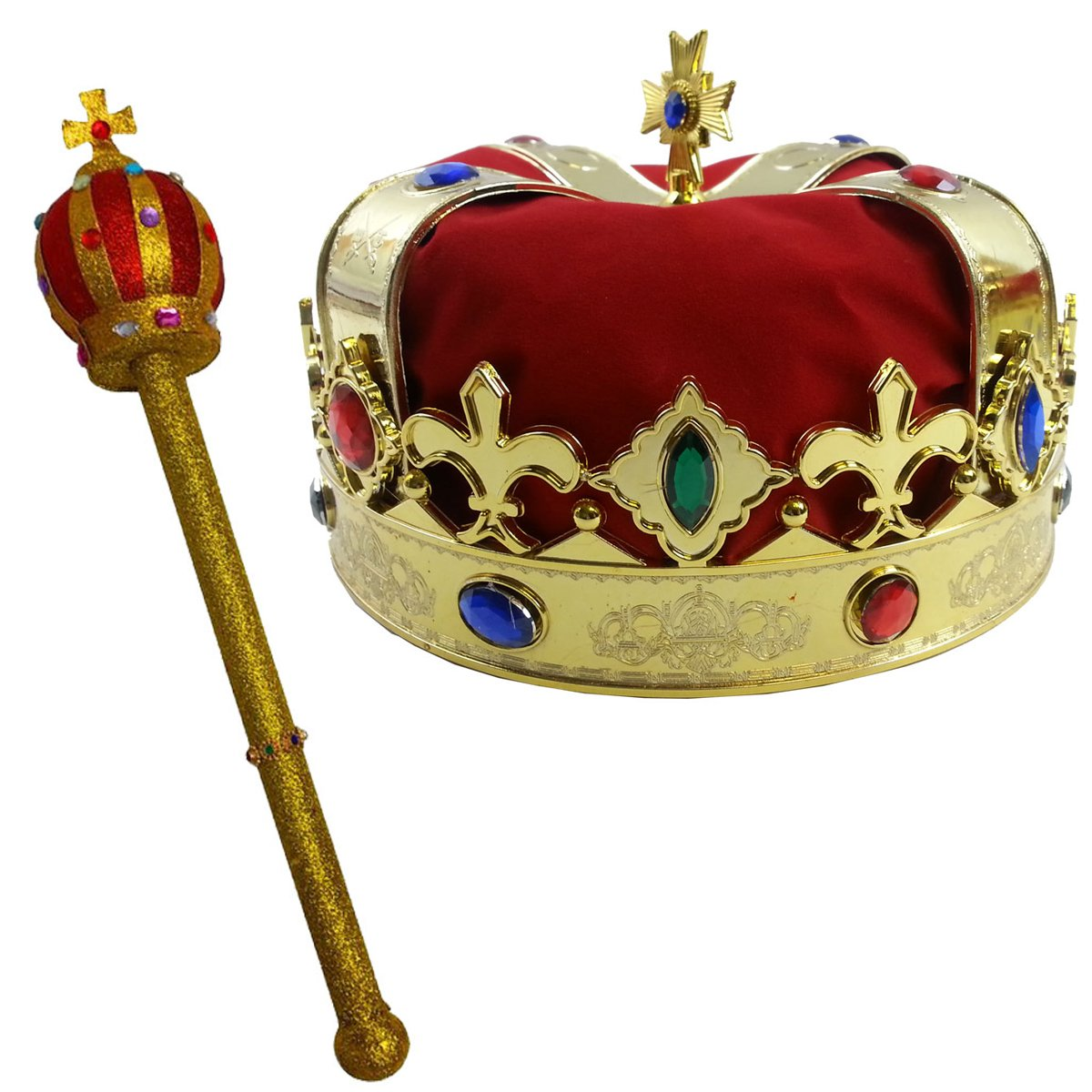 Crown and Scepter Funny Party Hats Kings Crown Costume Dress Up Set Royal Kings Crown Costume Hats