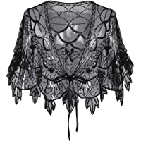 Women 1920s Shawl Sequin Beaded Art Deco Wedding Cape Evening Wraps Flapper Cover Up Zhhlinyuan