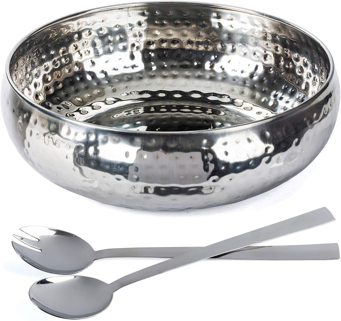 Salad Bowl and Serving Utensils - Hammered Detailing - Stainless Steel - Luxurious Serving Bowl 12