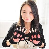 QHGstore Womens Girls Winter Cute Cartoon Animal Claw Half Finger Gloves Mittens