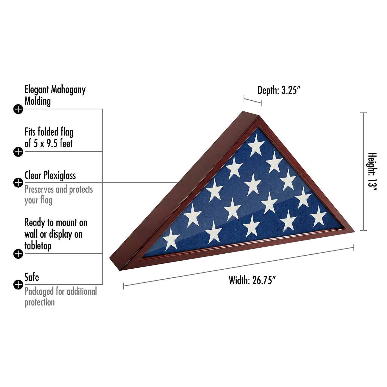 Americanflat Flag Case Frame - Display Case - Fits 5x9.5 Flag ...