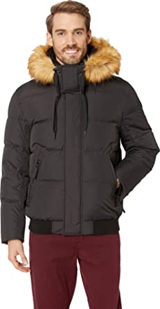 Marc New York by Andrew Marc mens Clermont Bomber Parka Jacket With Removable Faux Fur Hood Down Coat