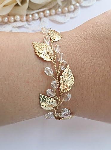Gold leaf cuff Gold leaf wedding cuff Gold leaf bracelet