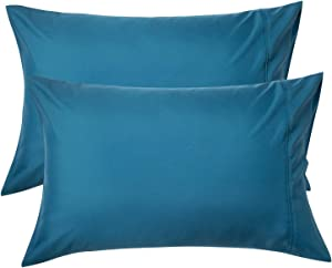 Bedsure Teal Pillowcase Set - Turquoise Standard Size (20 x 26 inches) Bed Pillow Cover - Brushed Microfiber, Wrinkle, Fade & Stain Resistant - Envelop Closure Pillow Case Set of 2