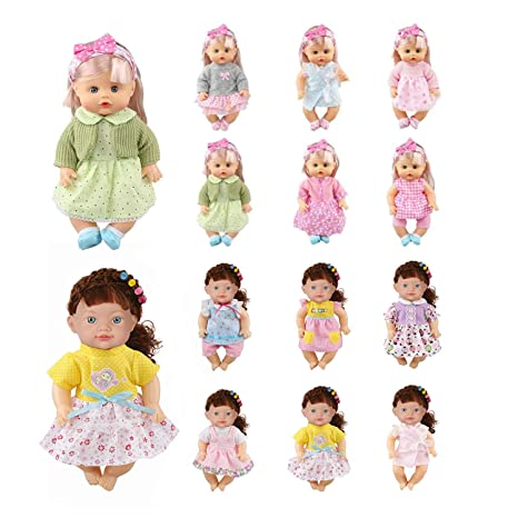 81d48294dab14 Image Unavailable. Image not available for. Color: Huang Cheng Toys Set of  12 for 12 Inch Doll Clothes Dress Outfits Costumes Dolly Pretty