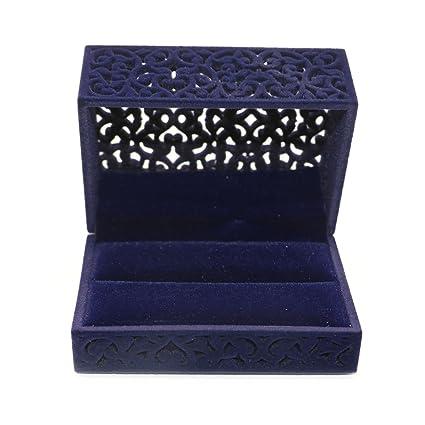 Amazoncom MAISHO Hollow Royal Blue Velvet Ring Box Velvet Jewelry