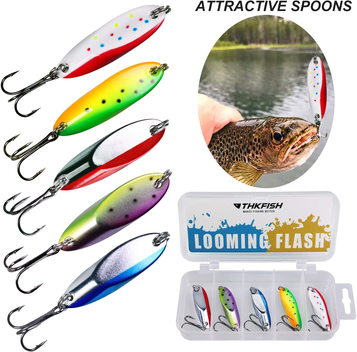 THKFISH Angeln Spoon Kunstk/öder Angelk/öder Spoons f/ür Trout Pike Bass Crappie Walleye 3,5g 5,5g 7,5g 10,5g 5St/ück