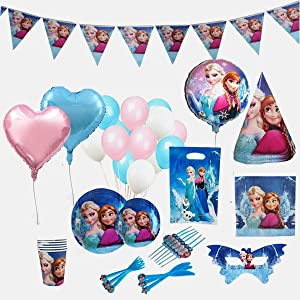 GK Galleria Frozen Birthday Party Supplies for 12 Princesses with 170 Plus Items - Birthday Party Supplies - Frozen Party Supplies - Princess Birthday Party Supplies - Princess Party Decorations - Anna Olaf Elsa