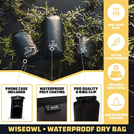 Thick Durable Waterproof Bags Fully Submersible Roll Top Drybag Great for Kayak Boat Water Sports /& Camping 5L 10L and 20L Sizes Wise Owl Outfitters Dry Bag
