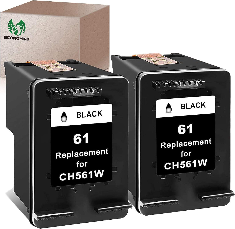 Economink Remanufactured Ink Cartridge Replacement for HP 61 Black HP61 for Envy 5530 4500 4502 5535 OfficeJet 4630 4635 4632 DeskJet 2540 1010 3050a 2542 2549 3510 2541 2548 1055 1512 Printer(2-Pack)