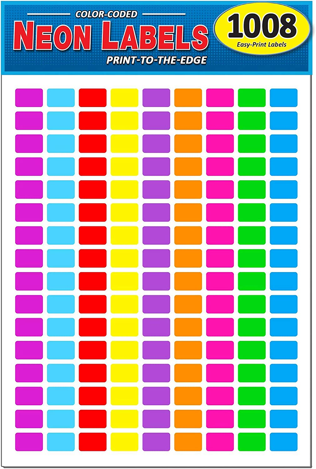 "Pack of 1008, 1/2"" x 3/4"" Rectangle Color Coding Dot Labels, 9 Bright Neon Colors, 8 1/2 x 11 Inch Sheet, Fits All Laser/Inkjet Printers, 144 Labels per Sheet, 0.5 x 0.75 Inches"