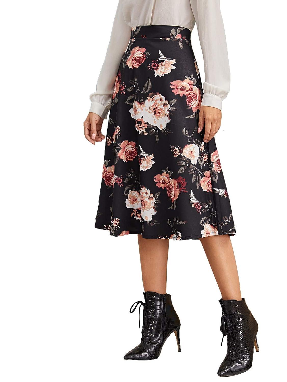 Shein Falda Media de Verano con Estampado Floral para Mujer ...