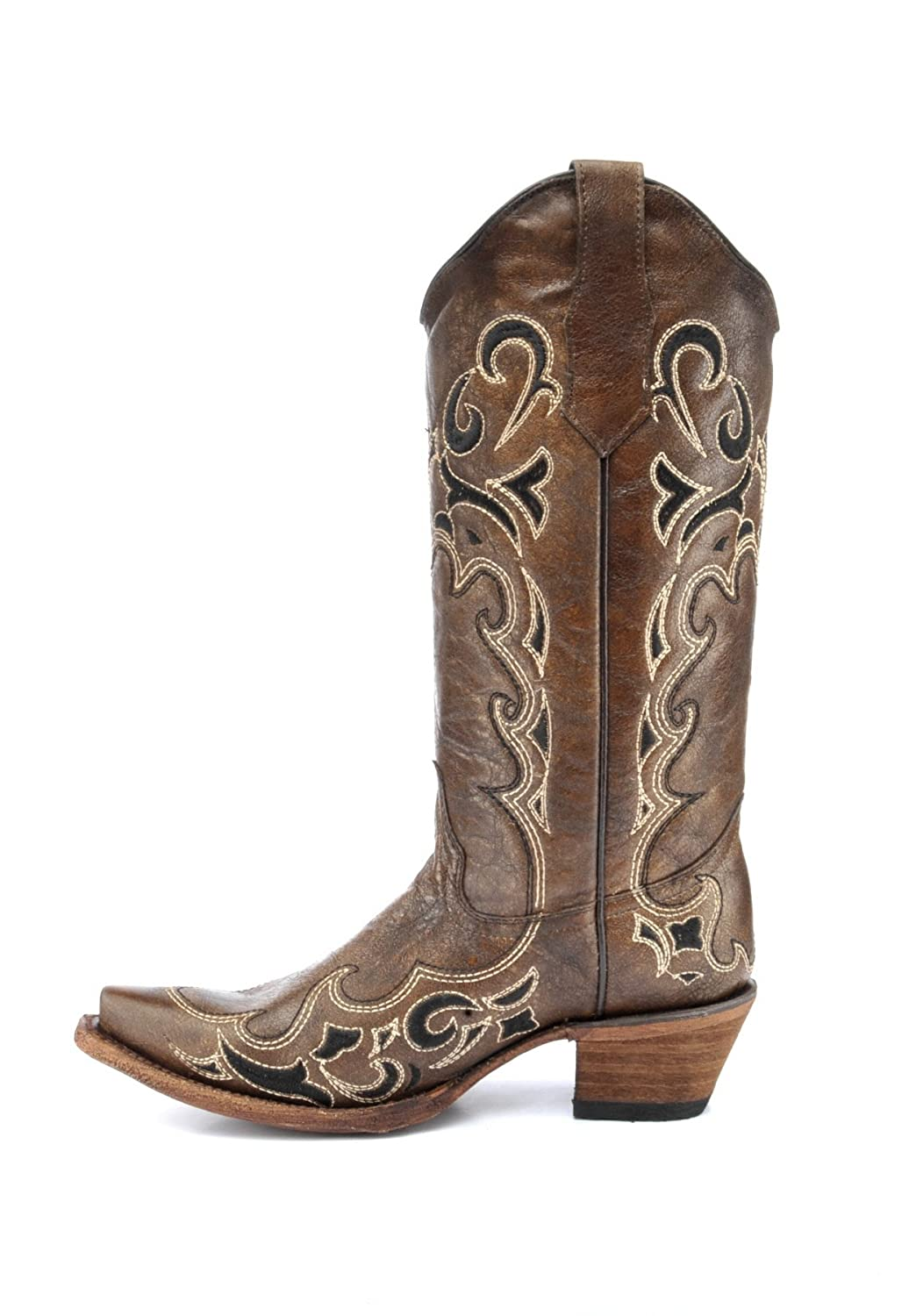 Corral Circle G Boot Womens 12-Inch Distressed Leather Side Embroidery Snip Toe Brown//Black Western Boot
