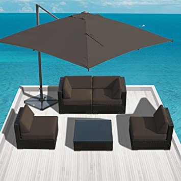 sunbrella fabric outdoor patio furniture wicker modern sofa sectional bella 5pc set charcoal - Sunbrella Patio Furniture