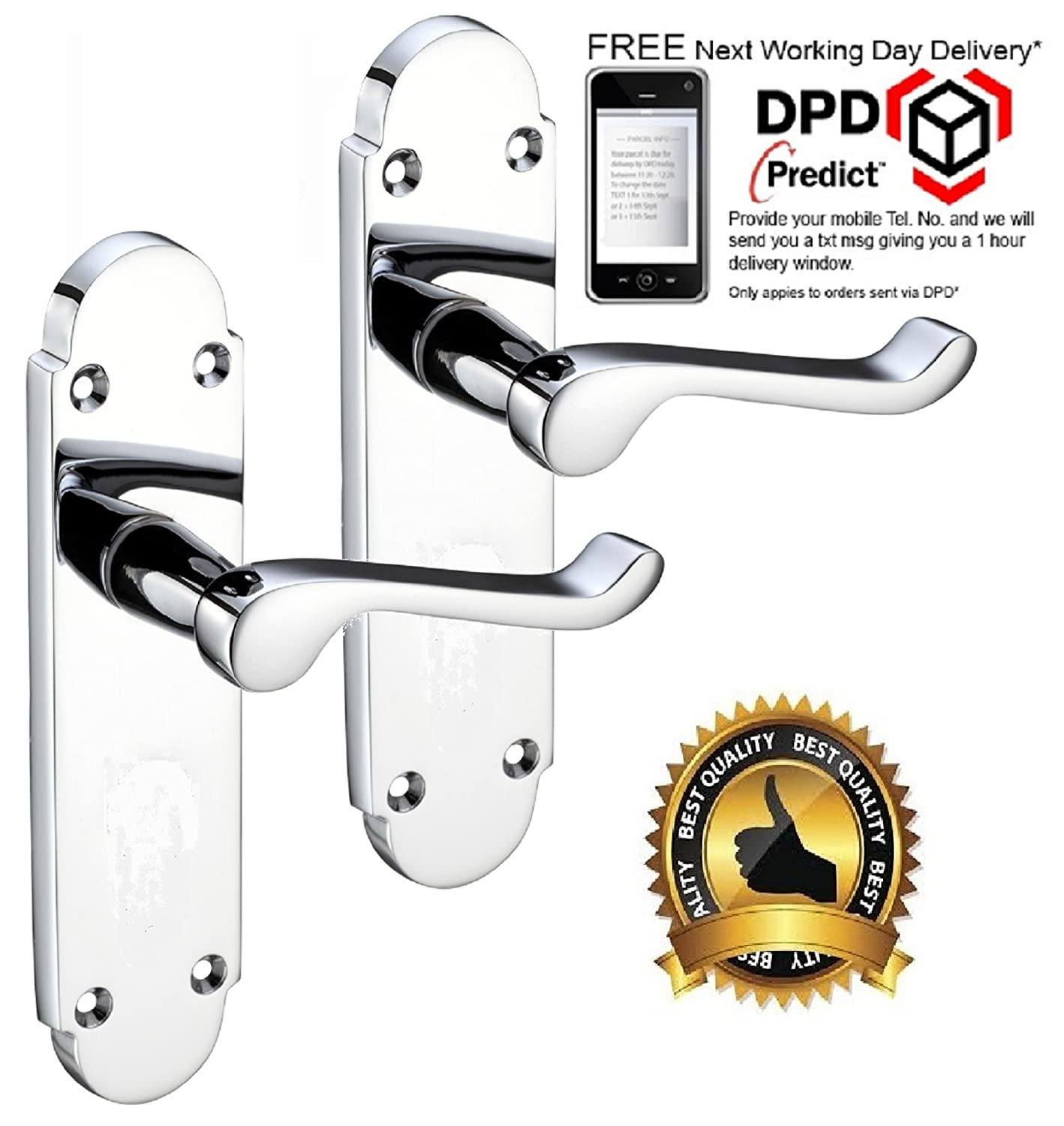 Haven - Epsom Style Door Handle on Shaped Back Plate Polished Chrome. Door Handles
