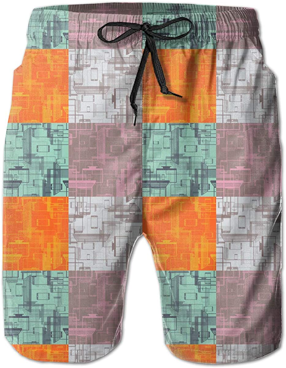Mobile Phones Mens Beach Shorts Casual Swimming Trunks with 3 Pockets