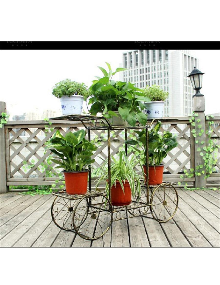 XYZ Europäische - Stil Multi - Layer Eisen Blumenregale der modernen Kreativität Einfache Blumentöpfe Frame Wohnzimmer Balkon Blumentopf Racks Empfindlich haltbar ( farbe : Bronze )