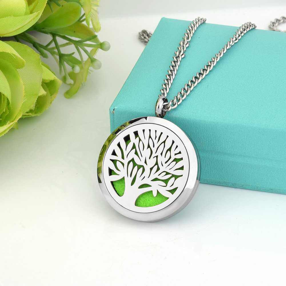abooxiu 316 Stianless Steel Aromatherapy Essential Locket Oil Diffuser Necklace Tree of Life 24inch Chain Link
