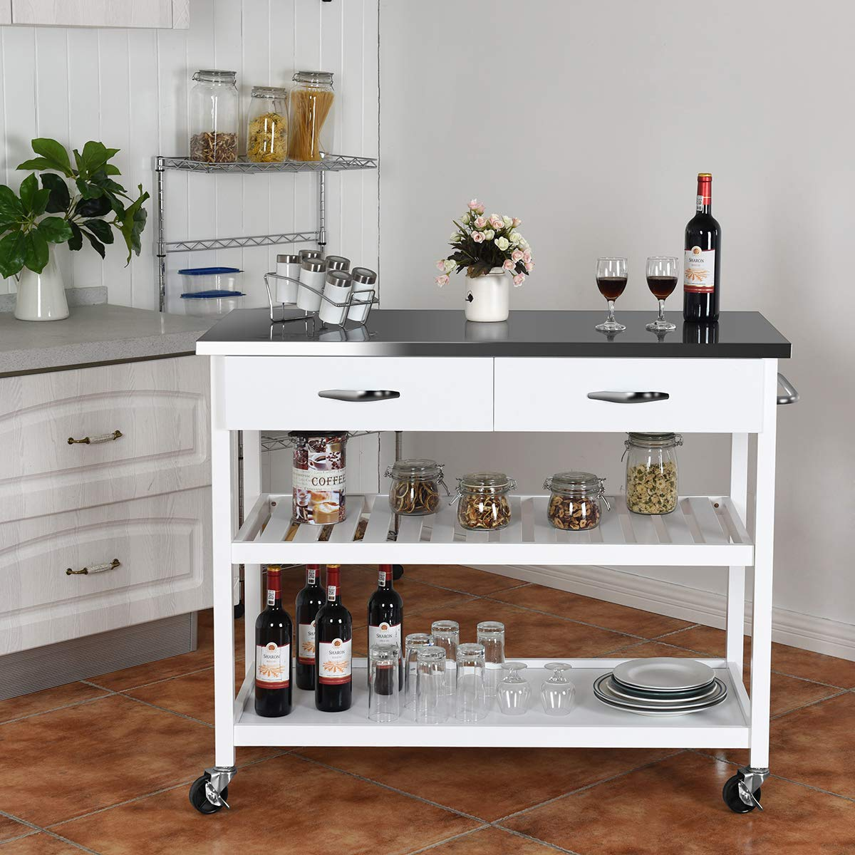 Giantex Kitchen Trolley Cart Rolling Island Cart Serving Cart Large Storage with Stainless Steel Countertop, Lockable Wheels, 2 Drawers and Shelf Utility Cart for Home and Restaurant, (White) by Giantex (Image #3)
