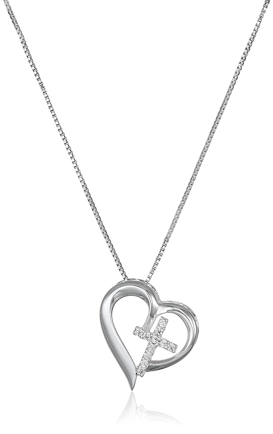"""Sterling Silver Open Heart with Cubic Zirconia Cross """"Faith Hope Love"""" Pendant Necklace, 18"""""""