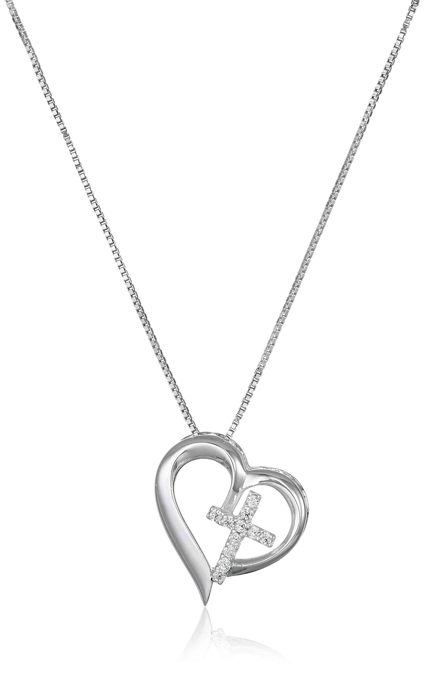 Sterling Silver Open Heart with Cubic Zirconia Cross ''Faith Hope Love'' Pendant Necklace, 18''