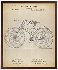 Turnip Designs Bicycle 1890 Patent Poster Art Print Antique Bicycle Hipster Wall Art Living Room Decor Cycling Art Bicycle Print TNP162