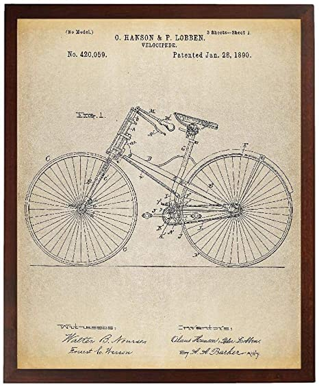 Unframed Set of 4 Bicycle Patent Poster Prints