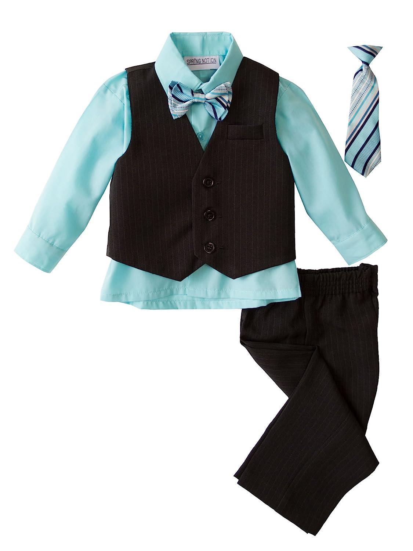 Spring Notion Big Boys 5 Piece Pinstripe Vest Set with Necktie and Bowtie Aqua ERF200-SNS-200.AQ