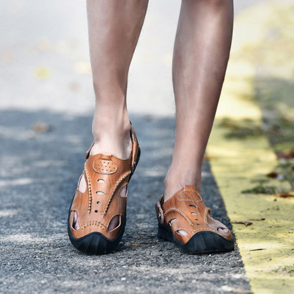 Herren Casual LederSandale Closed-Toe Workout Schuhe Casual Herren Outdoor Strand Sandalen Hausschuhe Braun 4918a4