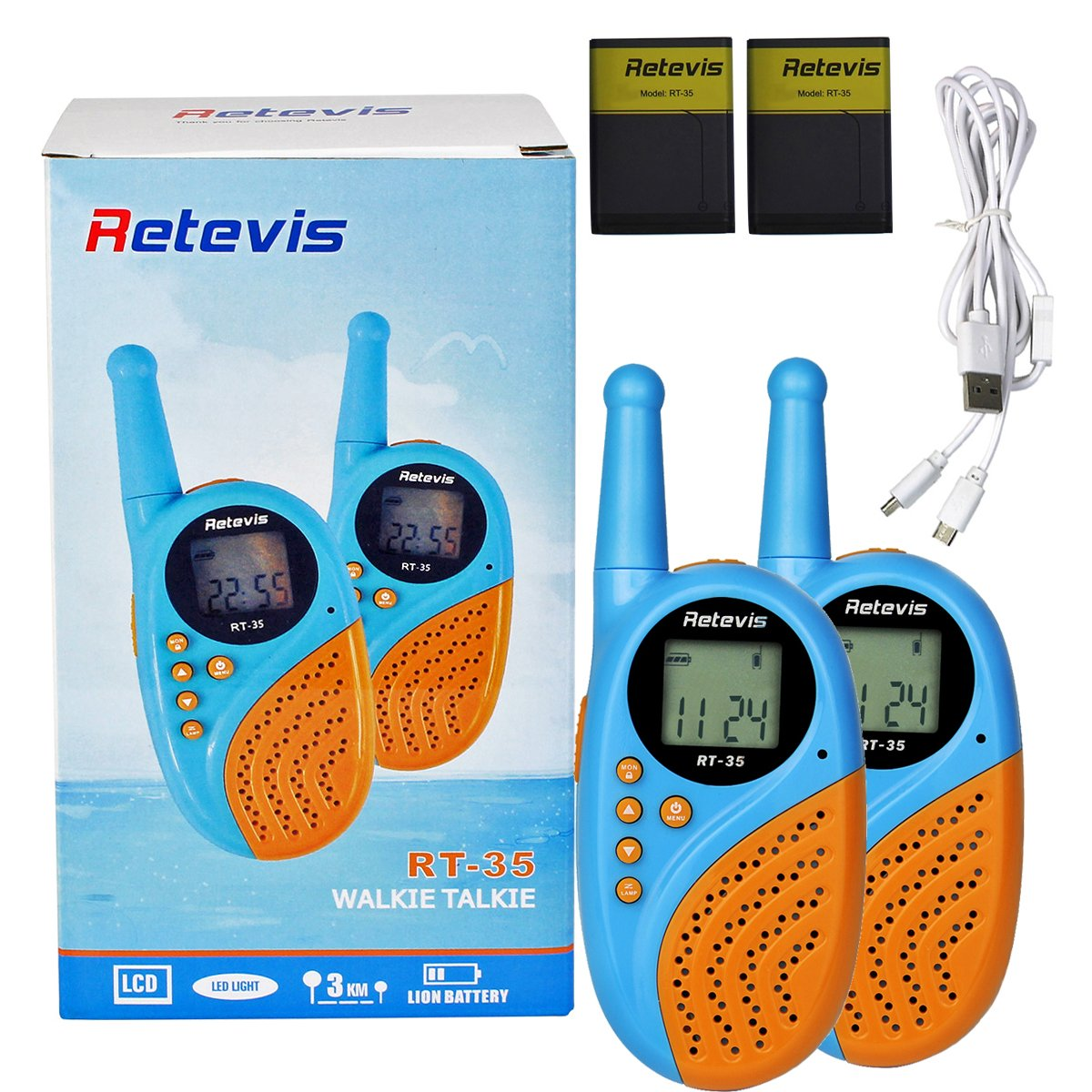 Retevis RT-35 Kids Walkie Talkies 22 Channels VOX Rechargeable walkie Talkie with Digital Clock Alarm (Bule, 1 Pair) by Retevis (Image #7)