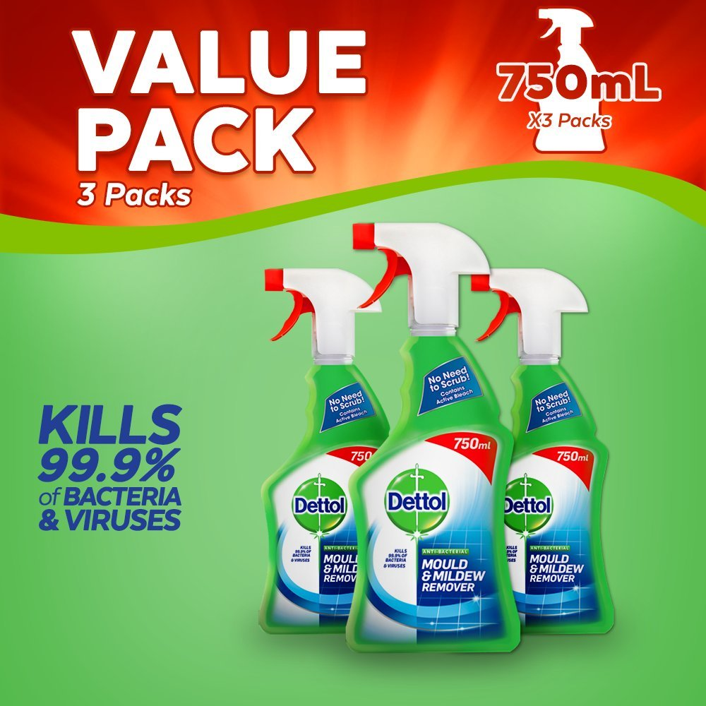 Dettol Anti-Bacterial Mould and Mildew Remover, 750 ml, Pack of 3 Reckitt Benckiser