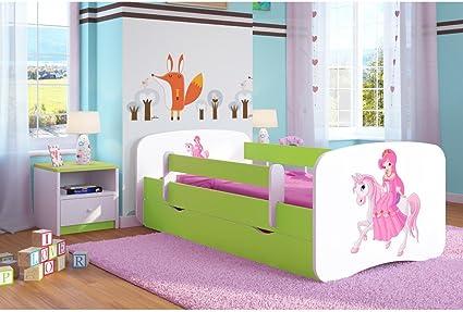Cama infantil de princesa sobre su caballo, 80 cm x 160 cm, con barrera de seguridad, somier + cajones + colchón, color verde limón