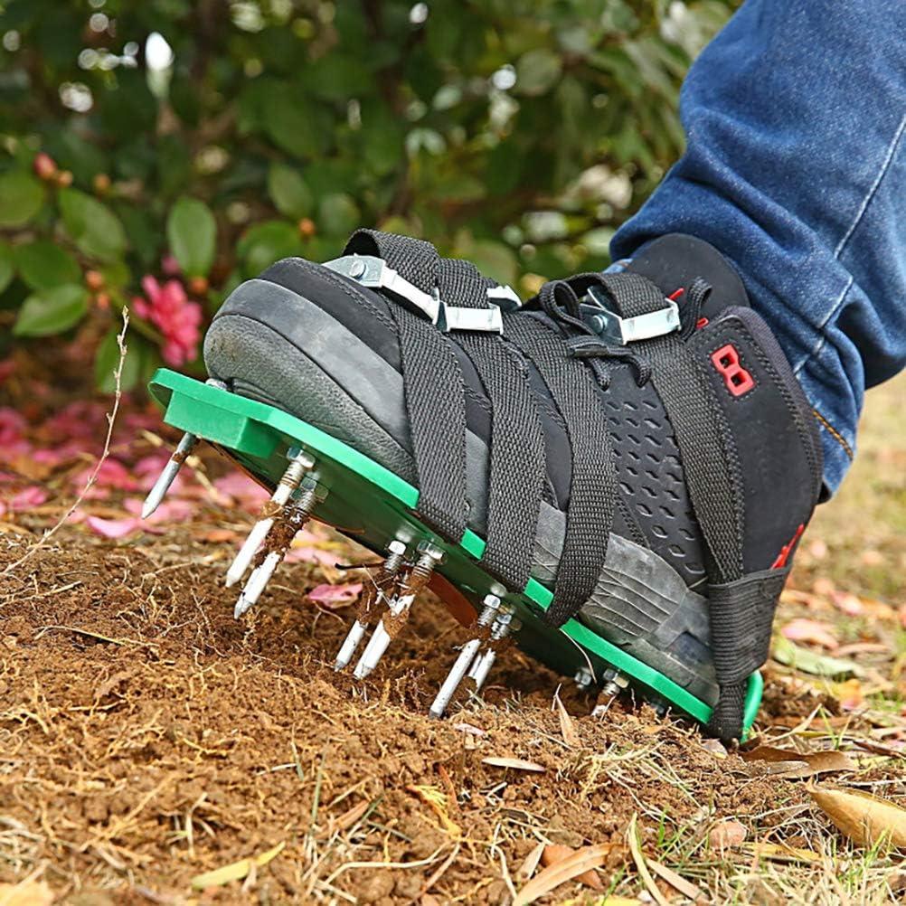Aireador de césped, Zapatos escarificadores de 26 Tornillos, escarificador de césped portátil, escarificador de jardín Manual, Zapatos de aireación de césped Fabricados con 8 Correas para su césped