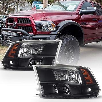 2009-2018 Dodge Ram 1500//2500//3500 Black Quad Headlights Lamps Left+Right