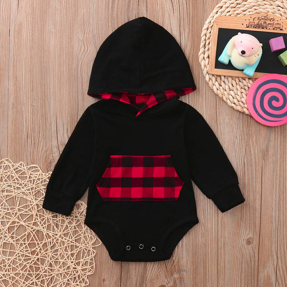 KONFA Toddler Baby Girls Autumn Clothes,Plaid Pocket Hooded Long Sleeves Rompers Jumpsuit,for 0-24 Months