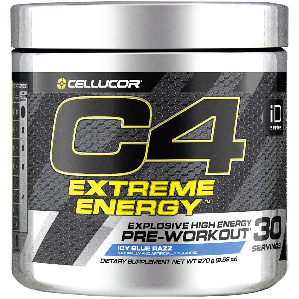 Cellucor C4 Extreme Energy Pre Workout Powder Energy Drink w/ Caffeine, Creatine, Nitric Oxide & Beta Alanine, Icy Blue Razz, 30 Servings by Cellucor