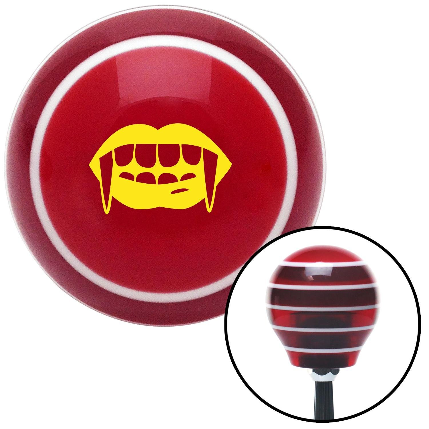 American Shifter 116779 Red Stripe Shift Knob with M16 x 1.5 Insert Yellow Mouth with Fangs