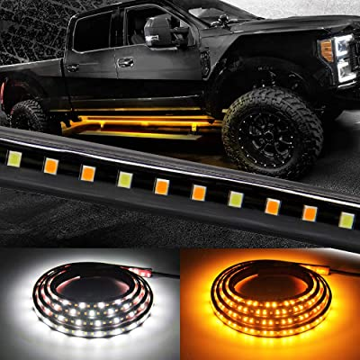 Truck LED Running Board Lights Amber Side Marker Kit with White Courtesy Light Extended Crew Cab 2pc 70Inch 216 Led Underglow Bar Bed Light Strip for Pickup Jeep Trucks SUV Cars Work Van (Board 1070): Automotive
