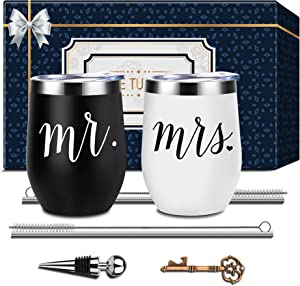Mr and Mrs Wedding Gifts Wine Tumble, Engagement Wedding Gift for Bride and Groom, Wedding Gift Idea for Bridal Shower, Newlyweds Couples Bride to Be Wife Husband His and Her, Set of 2 Black and White