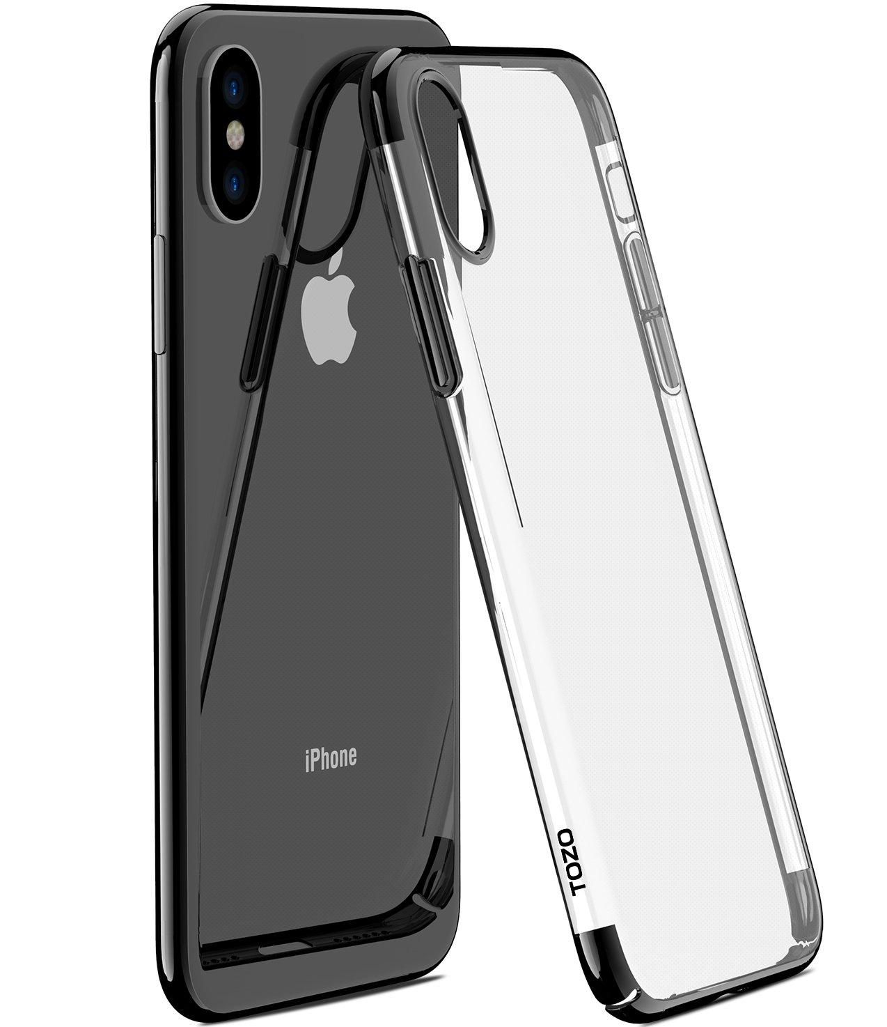 more photos 3e814 cfee9 TOZO for iPhone X Case, Ultra Thin Hard Cover World's Thinnest Protect  Bumper Slim Fit Shell for iPhone 10 / X [ Transparent ] Lightweight [Black  ...